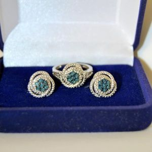 Jewelry - Blue Diamond Ring and Earrings Set Silver